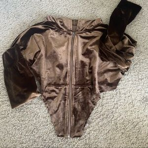 chocolate velour / crushed velvet cropped zip up